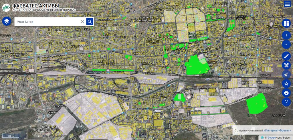 Карта геоинформационной системы обеспечения деятельности «Фарватер-Активы»