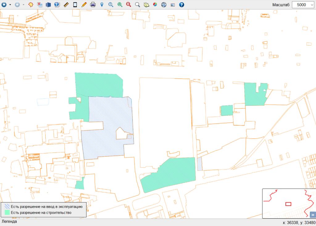 Визуальный отчет по выданным документам для объектов на земельных участках