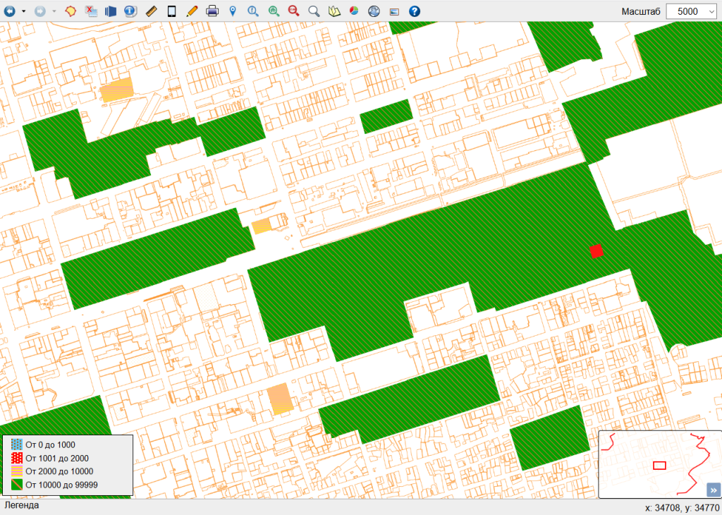 Визуальный отчет по площадям объектов