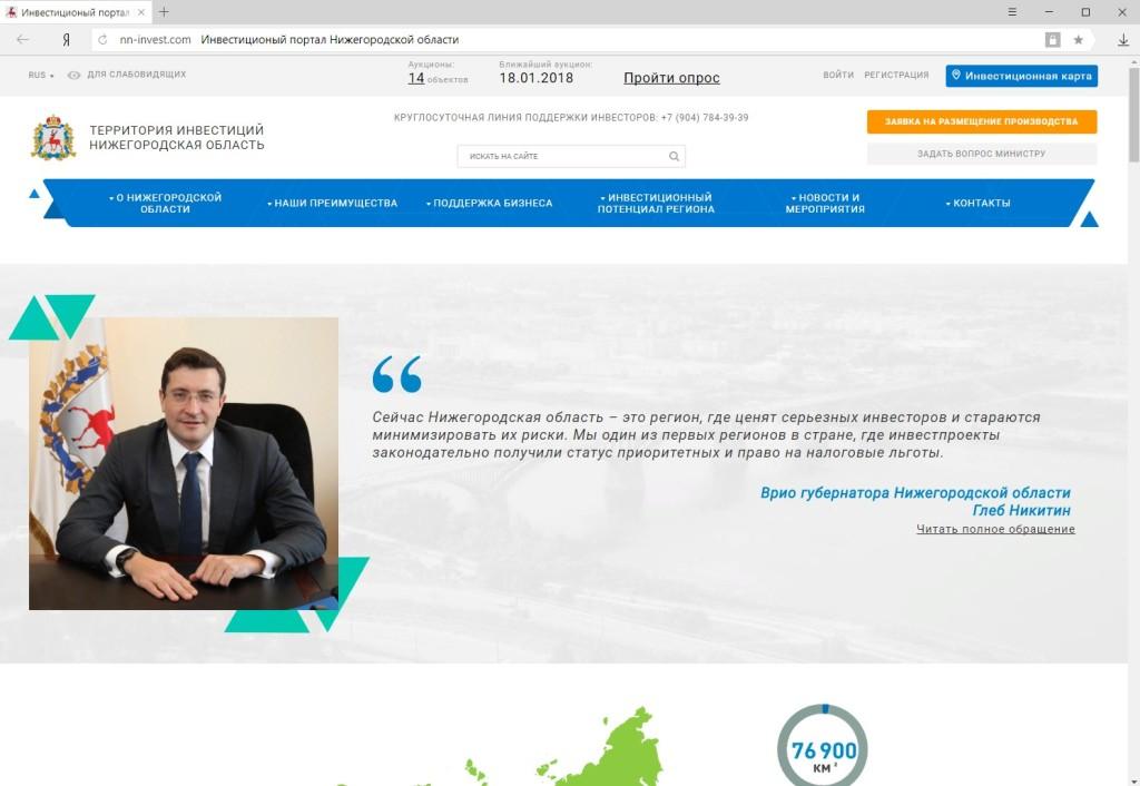Главная страница инвестиционного портала Нижегородской области nn-invest.com