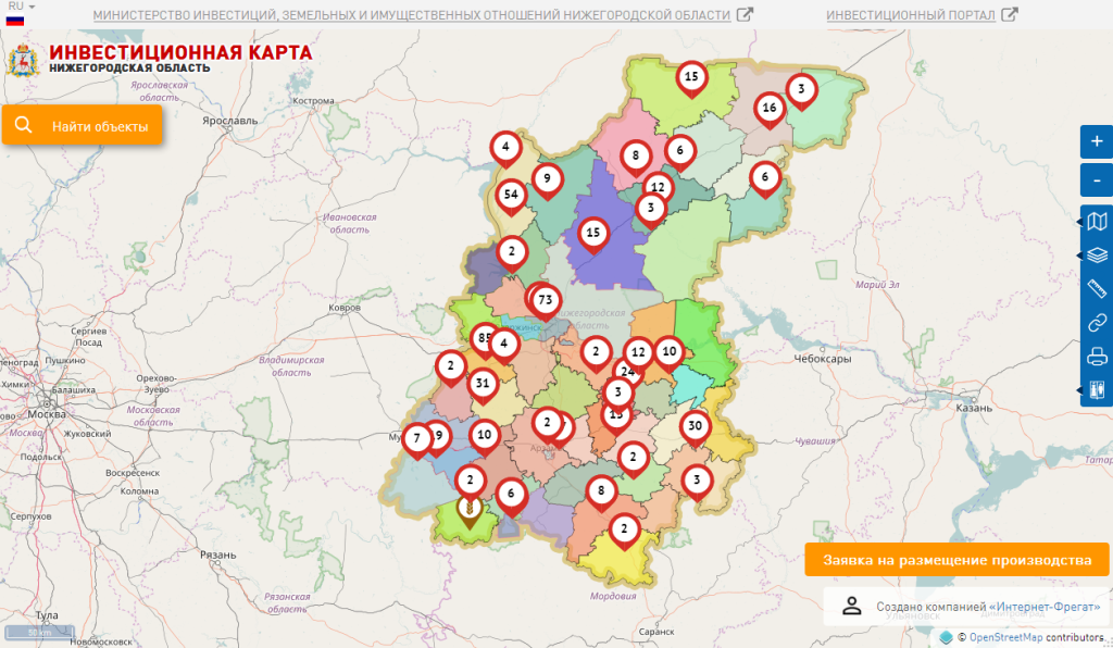 Инвестиционная карта Нижегородской области