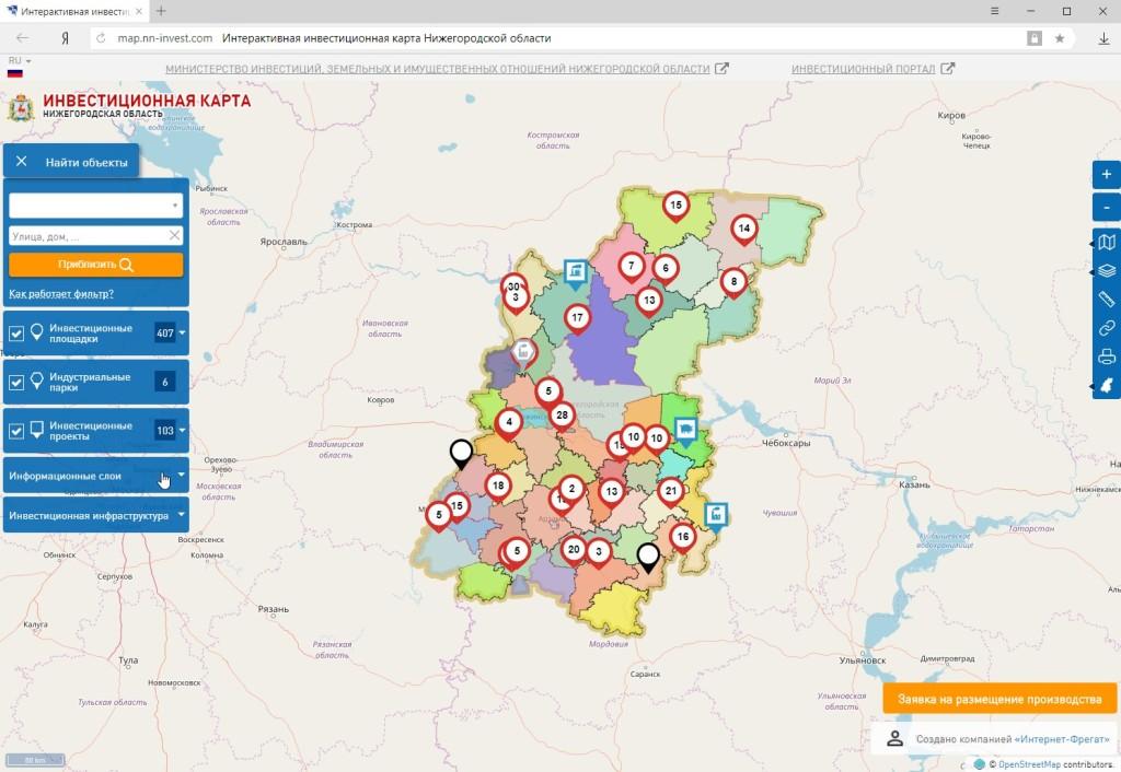 Инвестиционная карта Нижегородской области map.nn-invest.com