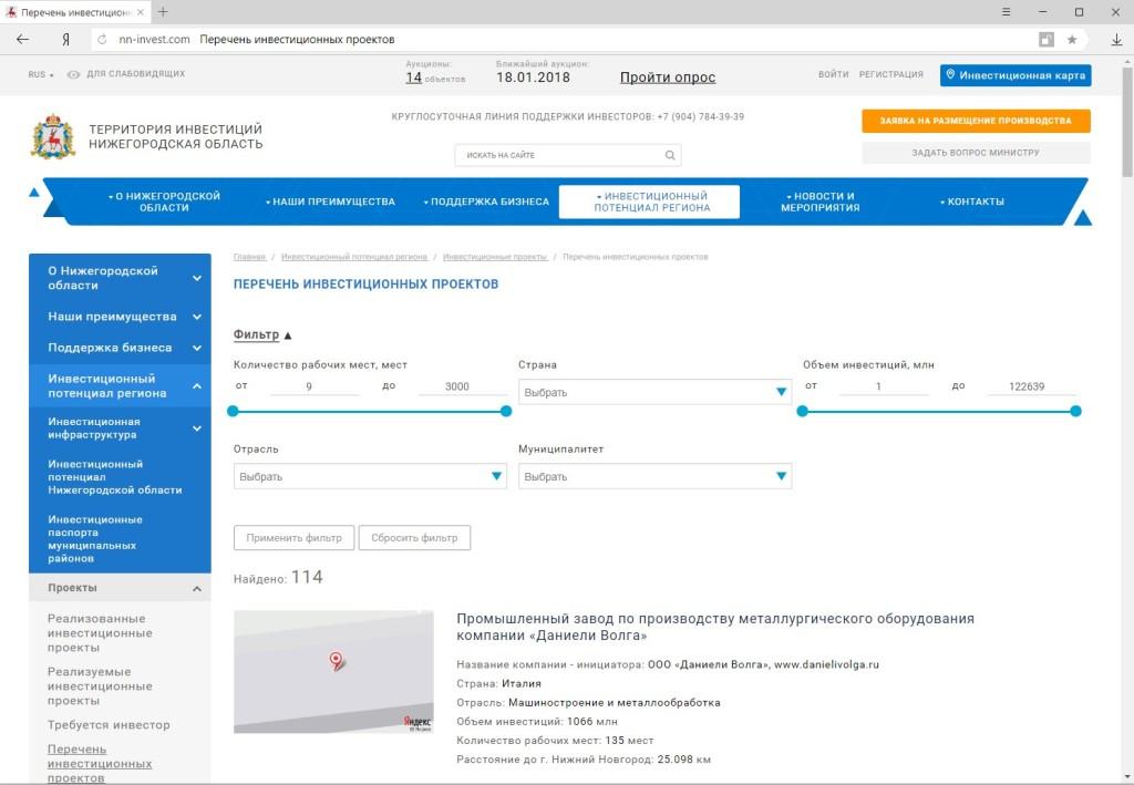 Публикация информации с инвестиционной карты на страницах инвестиционного портала