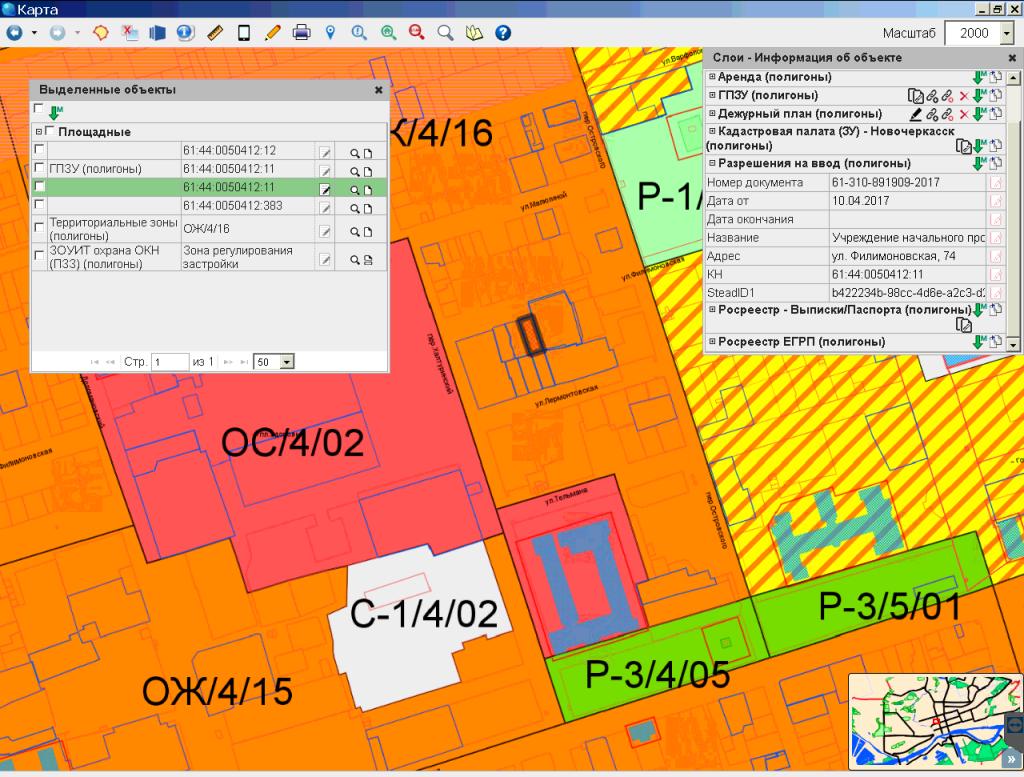 Информация по объекту на карте. Объект с разрешением на ввод